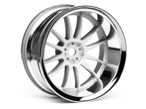 2 HPI 3284 Work Xsa Wheel 26mm Chrome//White 6mm Offset