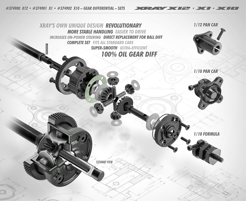 XRAY 304930 composite gear diff bevel /& satellite gears 2+4